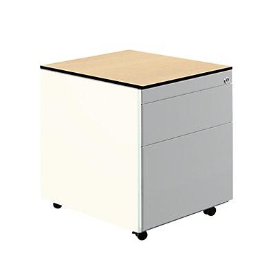 mauser Schubladencontainer mit Rollen - HxT 573 x 600 mm, HPL-Vollkernplatte, 2 Schubladen