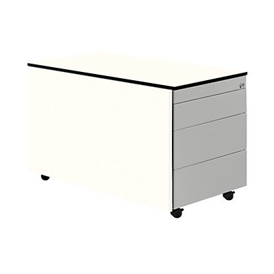 mauser Schubladen-Rollcontainer - Tiefe 800 mm, HPL-Vollkernplatte, 3 Schubladen