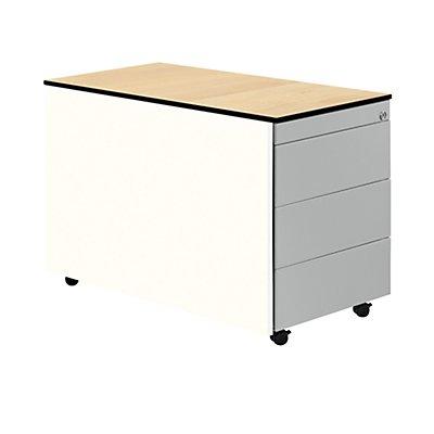 mauser Schubladencontainer mit Rollen - HxT 573 x 800 mm, HPL-Vollkernplatte, 3 Schubladen