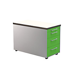 mauser Schubladencontainer - HxT 529 x 800 mm, Kunststoffplatte, 3 Schubladen, alusilber / gelbgrün / weiß