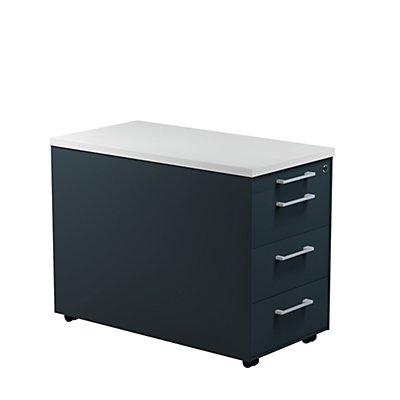 mauser Schubladencontainer - HxT 579 x 800 mm, Kunststoffplatte, 3 Schubladen