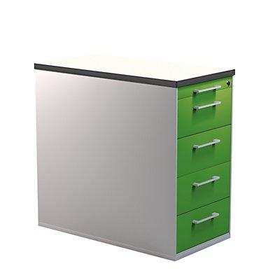 mauser Schubladencontainer mit Sockel - Höhe 720 mm, Kunststoffplatte, 4 Schubladen, lichtgrau / lichtgrau / lichtgrau