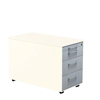 mauser Schubladencontainer - HxT 520 x 800 mm, Stahlplatte, 3 Schubladen