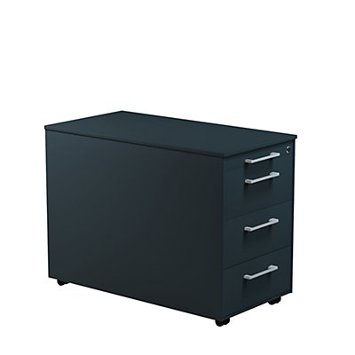 mauser Schubladencontainer - HxT 570 x 800 mm, Stahlplatte, 3 Schubladen
