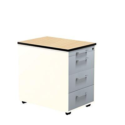 mauser Schubladencontainer - HxT 573 x 600 mm, HPL-Vollkernplatte, 3 Schubladen