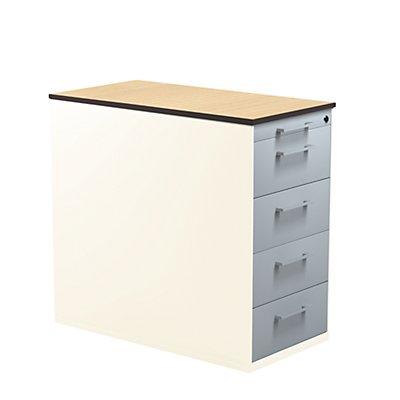 mauser Schubladencontainer mit Sockel - Höhe 708 mm, HPL-Vollkernplatte, 4 Schubladen