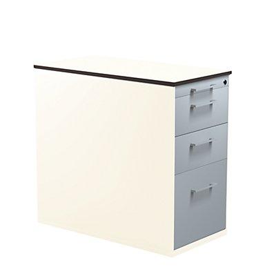 mauser Schubladencontainer mit Sockel - Höhe 708 mm, HPL-Vollkernplatte, 3 Schubladen, reinweiß / alusilber / weiß