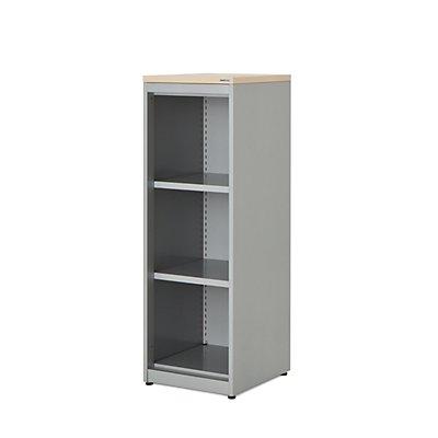 mauser Regalschrank - HxBxT 1180 x 400 x 432 mm, Kunststoffplatte, 2 Fachböden, alufarben / Ahorn