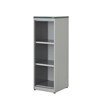 mauser Regalschrank - HxBxT 1180 x 400 x 432 mm, Kunststoffplatte, 2 Fachböden, anthrazitgrau / lichtgrau