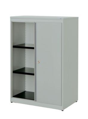 mauser Schiebetürenschrank - HxBxT 1180 x 800 x 432 mm, Kunststoffplatte, 2 Fachböden
