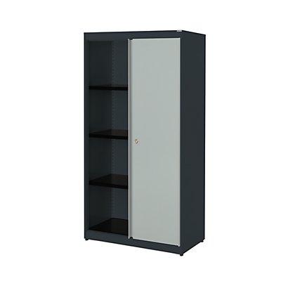 mauser Schiebetürenschrank - HxBxT 1516 x 800 x 432 mm, Stahlplatte, 3 Fachböden