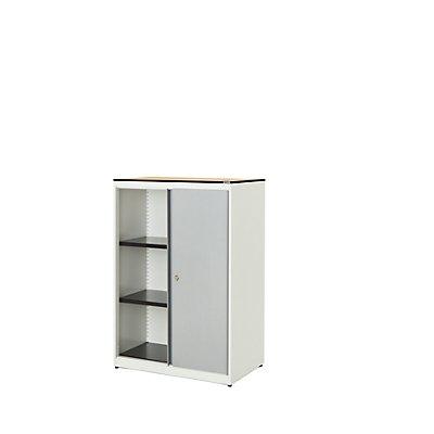 mauser Schiebetürenschrank - HxBxT 1168 x 800 x 432 mm, Vollkernplatte, 2 Fachböden