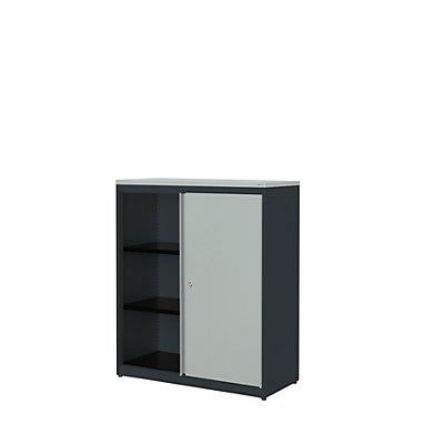 mauser Schiebetürenschrank - HxBxT 1180 x 1000 x 432 mm, Kunststoffplatte, 2 Fachböden