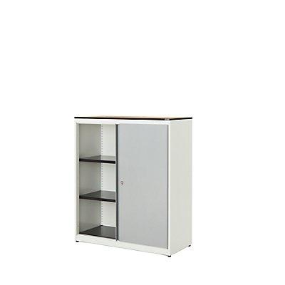 mauser Schiebetürenschrank - HxBxT 1168 x 1000 x 432 mm, Vollkernplatte, 2 Fachböden
