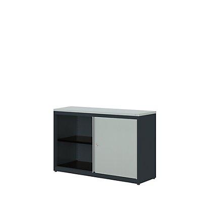 mauser Schiebetürenschrank - HxBxT 830 x 1200 x 432 mm, Kunststoffplatte, 1 Fachboden