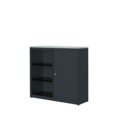 mauser Schiebetürenschrank - HxBxT 1180 x 1200 x 432 mm, Kunststoffplatte, 2 Fachböden