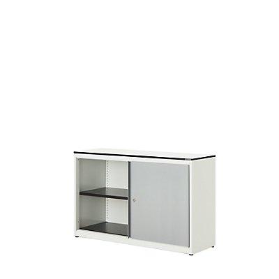 mauser Schiebetürenschrank - HxBxT 818 x 1200 x 432 mm, Vollkernplatte, 1 Fachboden