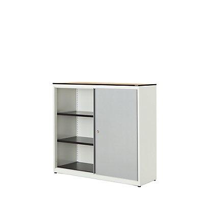 mauser Schiebetürenschrank - HxBxT 1168 x 1200 x 432 mm, Vollkernplatte, 2 Fachböden
