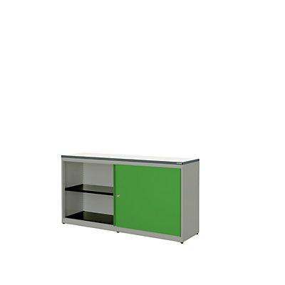 mauser Schiebetürenschrank - HxBxT 830 x 1600 x 432 mm, Kunststoffplatte, 2 Fachböden
