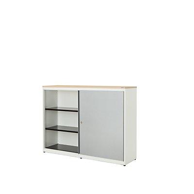 mauser Schiebetürenschrank - HxBxT 1180 x 1600 x 432 mm, Kunststoffplatte, 2 x 2 Fachböden
