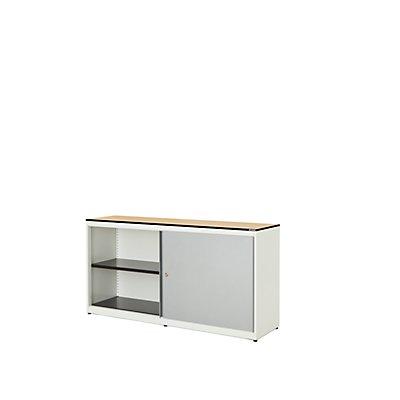 mauser Schiebetürenschrank - HxBxT 818 x 1600 x 432 mm, Vollkernplatte, 2 Fachböden