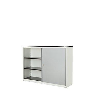 mauser Schiebetürenschrank - HxBxT 1168 x 1600 x 432 mm, Vollkernplatte, 4 Fachböden
