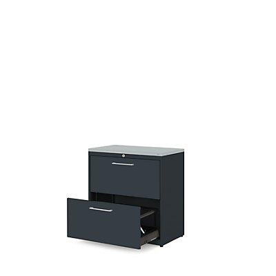 mauser Hängeregistraturschrank - Kunststoffplatte, 2 Auszüge, 2-bahnig, mit Dämpfung