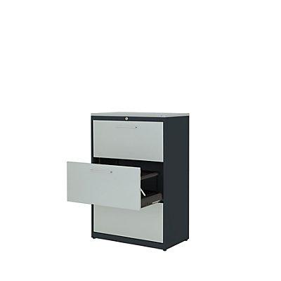 mauser Hängeregistraturschrank - Kunststoffplatte, 3 Auszüge, 2-bahnig, mit Dämpfung