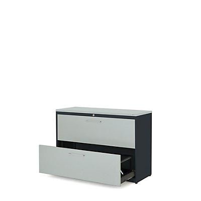 mauser Hängeregistraturschrank - Kunststoffplatte, 2 Auszüge, 3-bahnig, mit Dämpfung