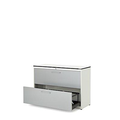 mauser Hängeregistraturschrank - HPL-Vollkernplatte, 2 Auszüge, 3-bahnig, mit Dämpfung