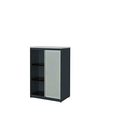mauser Schiebetürenschrank - Kunststoffplatte, HxBxT 1180 x 800 x 432 mm, 2 Fachböden