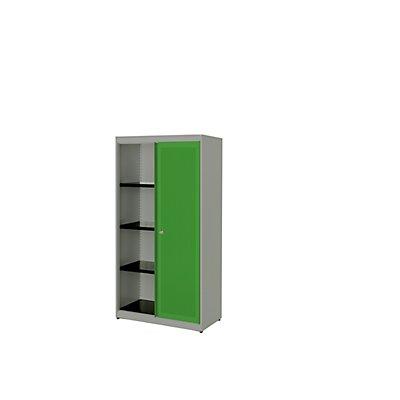 mauser Schiebetürenschrank - Stahlplatte, HxBxT 1516 x 800 x 432 mm, 3 Fachböden