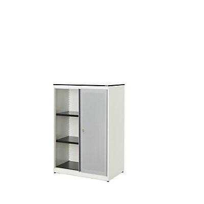 mauser Schiebetürenschrank - Vollkernplatte, HxBxT 1168 x 800 x 432 mm, 2 Fachböden