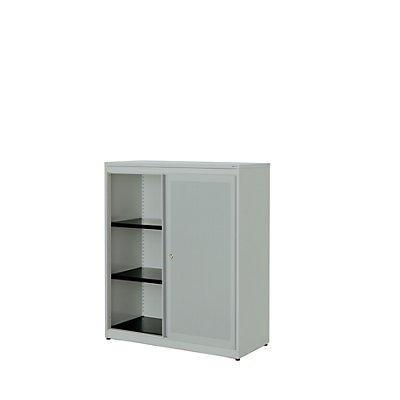 mauser Schiebetürenschrank - Kunststoffplatte, HxBxT 1180 x 1000 x 432 mm, 2 Fachböden
