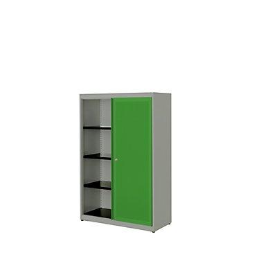 mauser Schiebetürenschrank - Stahlplatte, HxBxT 1516 x 1000 x 432 mm, 3 Fachböden