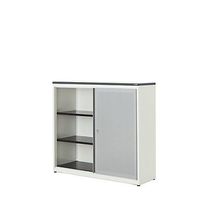 mauser Schiebetürenschrank - Kunststoffplatte, HxBxT 1180 x 1200 x 432 mm, 2 Fachböden