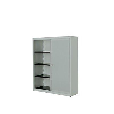 mauser Schiebetürenschrank - Stahlplatte, HxBxT 1516 x 1200 x 432 mm, 3 Fachböden