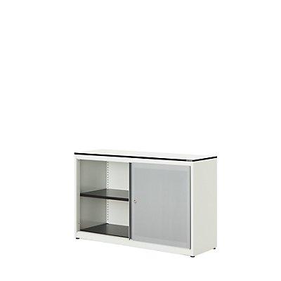mauser Schiebetürenschrank - Vollkernplatte, HxBxT 818 x 1200 x 432 mm, 1 Fachboden