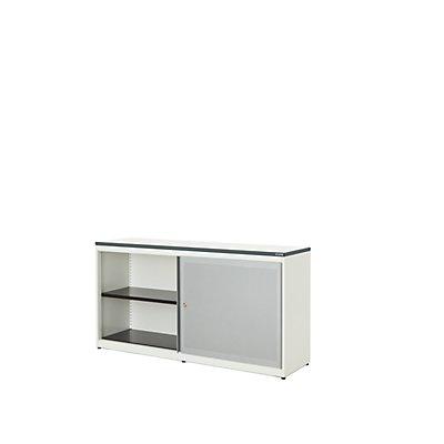mauser Schiebetürenschrank - Kunststoffplatte, HxBxT 830 x 1600 x 432 mm, 2 Fachböden