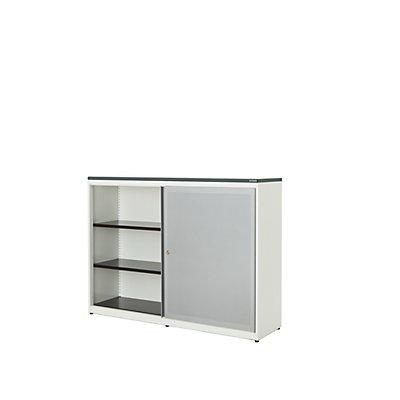 mauser Schiebetürenschrank - Kunststoffplatte, HxBxT 1180 x 1600 x 432 mm, 4 Fachböden