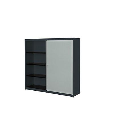 mauser Schiebetürenschrank - Stahlplatte, HxBxT 1516 x 1600 x 432 mm, 6 Fachböden