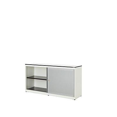 mauser Schiebetürenschrank - Vollkernplatte, HxBxT 818 x 1600 x 432 mm, 2 Fachböden