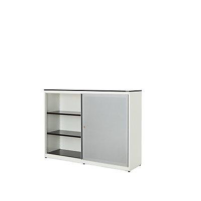 mauser Schiebetürenschrank - Vollkernplatte, HxBxT 1168 x 1600 x 432 mm, 4 Fachböden