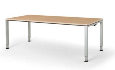 mauser Rechtecktisch, Fußform Quadratrohr - HxBxT 650 – 850 x 2000 x 900 mm, Kunststoffplatte