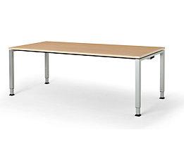 mauser Rechtecktisch, Fußform Quadratrohr - HxBxT 650 – 850 x 2000 x 900 mm, Kunststoffplatte, Gestell alufarben