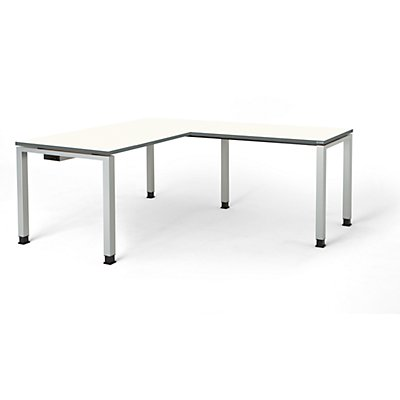 mauser Schreibtisch, verkettet, Fußform Quadrat-/Rechteckrohr - HxBxT 680 – 760 x 1600 x 800 mm, Winkelansatz rechts (Breite 1000 mm)