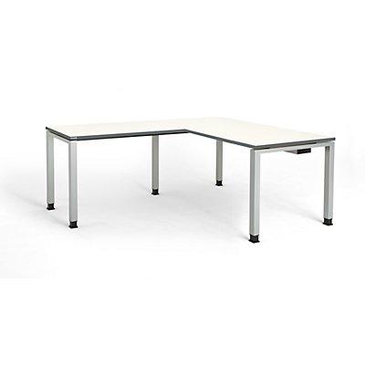 mauser Schreibtisch, verkettet, Fußform Quadrat-/Rechteckrohr - HxBxT 680 – 760 x 1600 x 800 mm, Winkelansatz links (Breite 1000 mm), Gestell anthrazitgrau