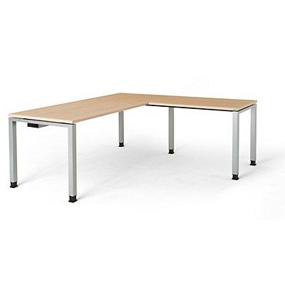 mauser Schreibtisch, verkettet, Fußform Quadrat-/Rechteckrohr - HxBxT 680 – 760 x 1800 x 800 mm, Winkelansatz rechts (Breite 1000 mm)