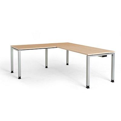 mauser Schreibtisch, verkettet, Fußform Quadrat-/Rechteckrohr - HxBxT 680 – 760 x 1800 x 800 mm, Winkelansatz links (Breite 1000 mm)