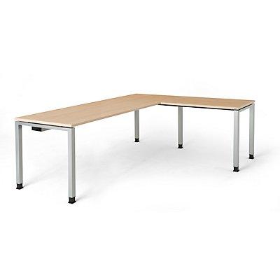 mauser Schreibtisch, verkettet, Fußform Quadrat-/Rechteckrohr - HxBxT 680 – 760 x 2000 x 800 mm, Winkelansatz rechts (Breite 1000 mm)